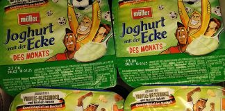 Müeller Joghurt mit der Ecke des Monats