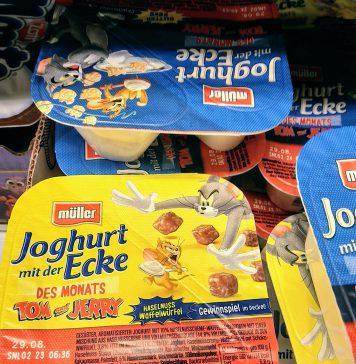 Müller Joghurt mit der Ecke des Monats Tom und Jerry